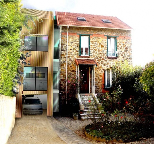 Agrandissement maison de ville extension en bois hqe for Agrandissement maison en bois
