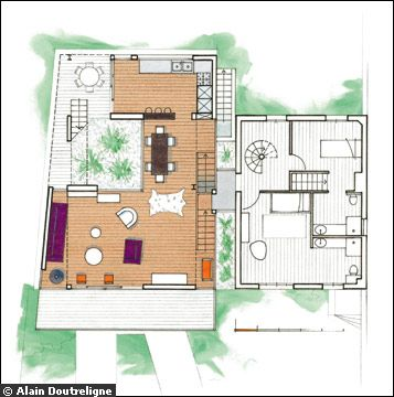 Plan de l'extension moderne - toiture terrasse