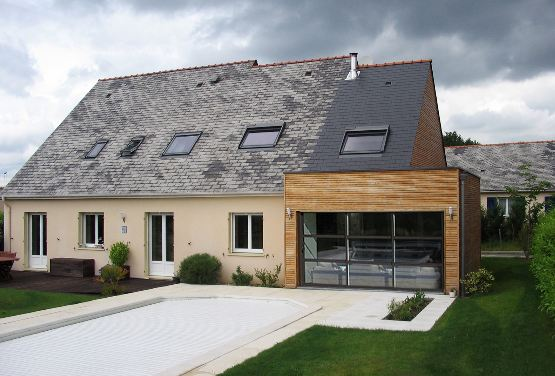 Extension bois maison extension en bois toiture en ardoise epicea agrandissement extension - Photo extension maison ...