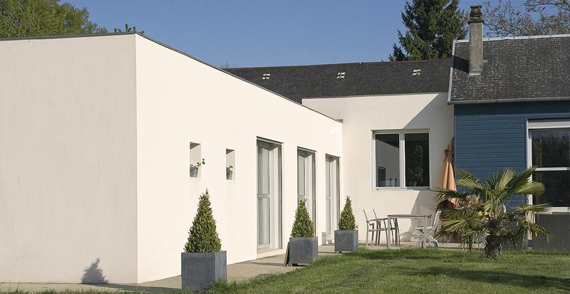 Ideal extension maison en L : extension maison toit plat en béton  TG77